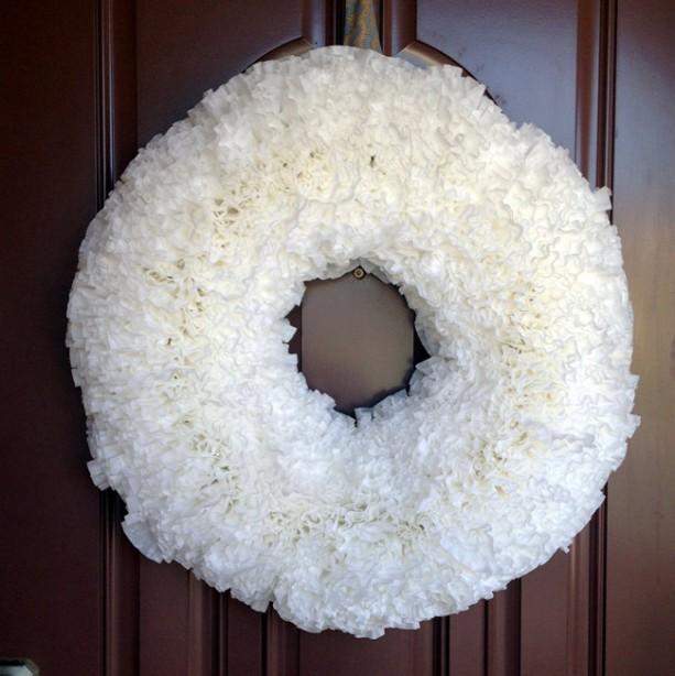 Cream Coffee Filter Wreath