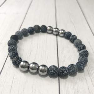 The Axel | handmade beaded stretch bracelet, dragon vein agate, silver hematite beads, black and silver, men's / unisex, Gifts for Him