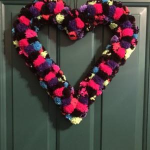 Black and Neon Glitter Heart Yarn Pom Pom Valentine Romance Wreath