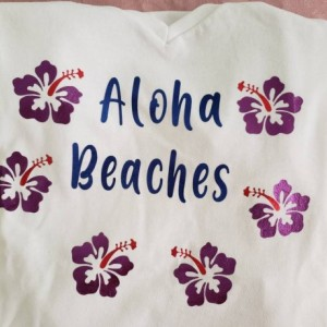 Aloha Beaches ladies tropical beach short sleeved graphic tshirt