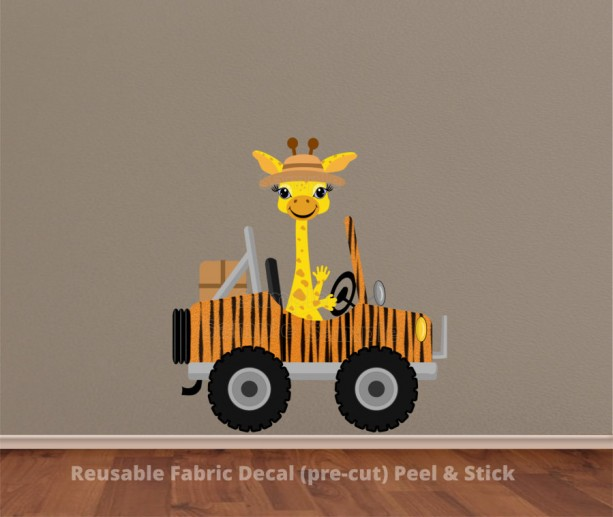 Giraffe driving Jeep Wall Decal