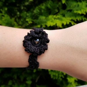 Black Cotton Flower Bracelet with Glass Bead -