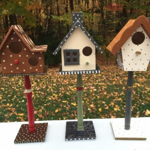 Harvest Birdhouse Thanksgiving Decor Autumn Hand Painted Decorated Bird Houses Decoupage Fall Holiday Decoration Holiday Set of 3 for Indoor