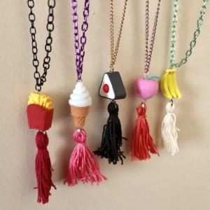 Upcycled Banana Fruit Eraser Toy with Tassel Necklace - Banana Emoji Jewelry - Tassel Necklace - Upcycled Toy Necklace -  It's Bananas