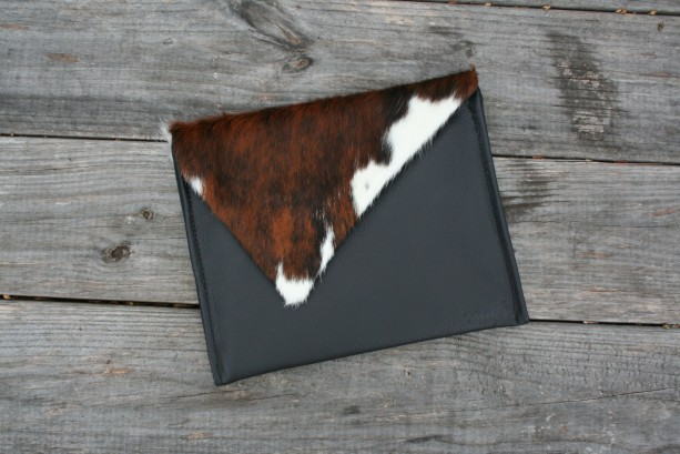 Cowhide Clutch / iPad Cover, Black Leather Case Sleeve by Beaudin