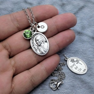 Personalized Silver Plated Saint Teresa of Calcutta Necklace. Patron Saint of Mercy