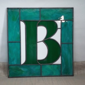 "9"" x 9"" Monogram Stained Glass Hanging"