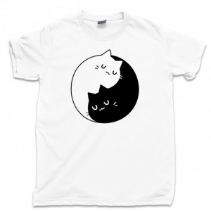 Yin Yang Cats Men's T Shirt, Kitty Kitten Purring Purrfect Meow Unisex Cotton Tee Shirt