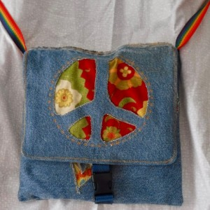 Peace out and Love shoulder bag made from up cycled fabric