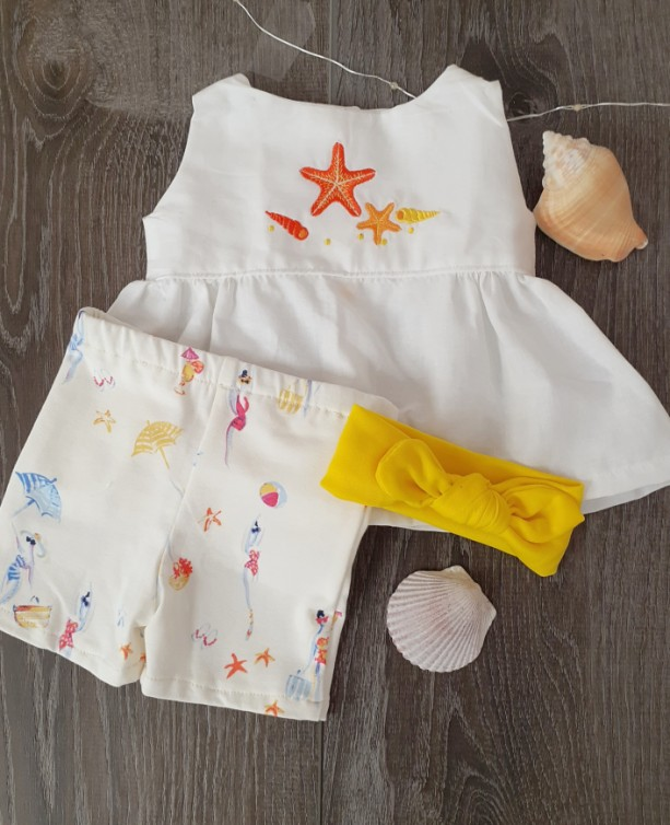 Beach Time!  White Top Print Shorts Yellow Headband  (0-3 months)