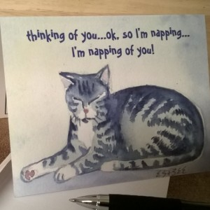 Funny Gray Tabby Cat-3 Note Cards/funny greeting card-blank greeting card--Handmade Notecard-Cat Notecard-Cat Notecards-Cat Card-Cat Cards