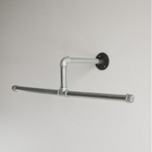 Closet Hanger Rod, Industrial Pipe, Silver Galvanized,  Industrial Pipe Towel/ Clothing Rack
