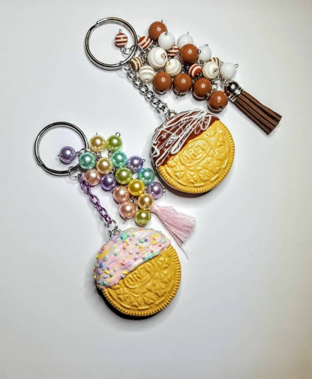 Polymer Clay Chocolate Coveres Oreo Cookie Bag Charm Purse Knocker