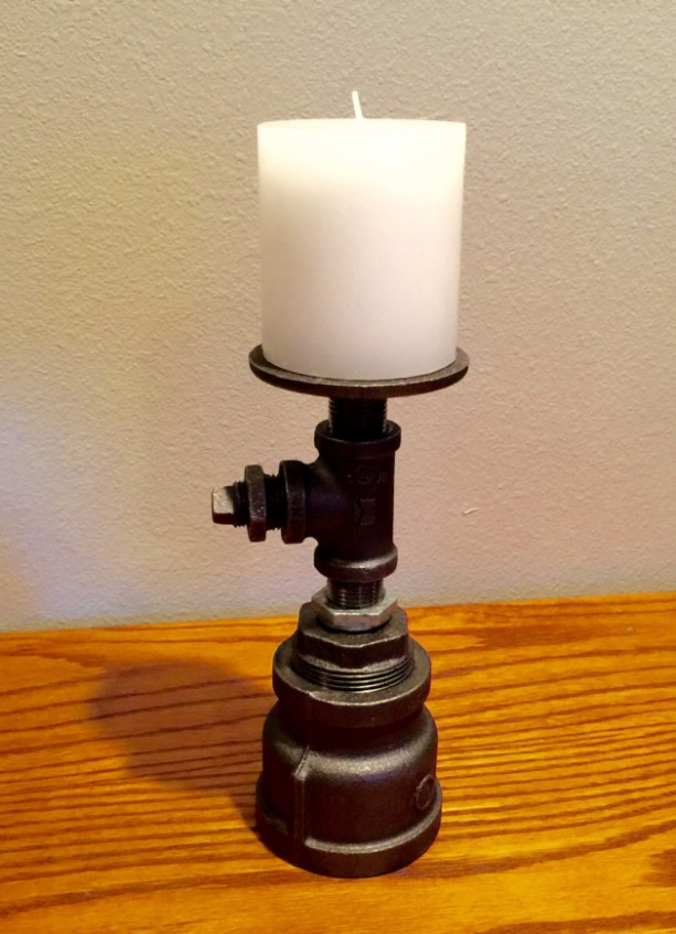 Candle Holder made from industrial Grade Black Iron Pipe, Unique Reversible Design, Turn over for different look