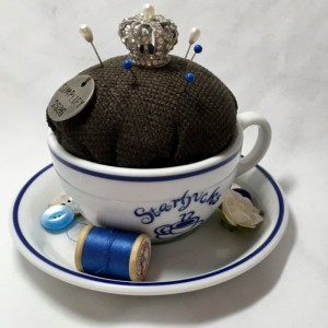 Vintage Tea Cup Pin Cushion Starbucks Queen