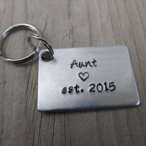 "Gift for Aunt- Keychain- Aunt's Keychain ""Aunt est. (year of choice)"" with stamped heart-  Hand-Stamped Keychain by Jenn Stewart"