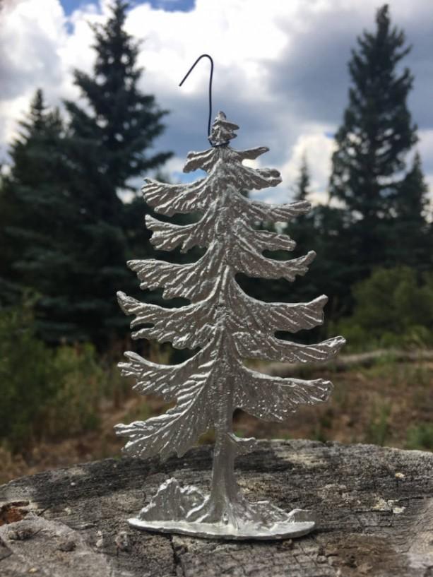Pine Tree or Christmas Tree pewter ornament figurine, hand cast