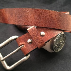 Custom Made Water Buffalo Belt  Antique Brown