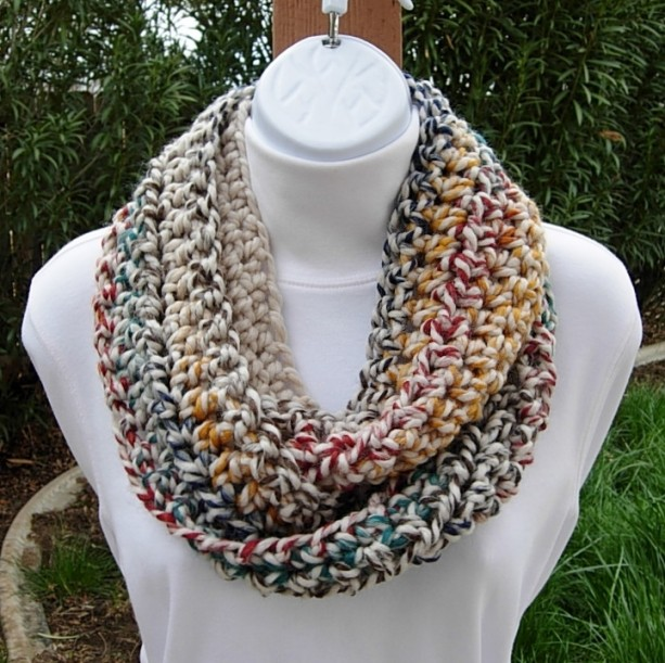 Small Colorful INFINITY SCARF, Skinny Loop Scarf, Crochet Winter Cowl, Soft Wool Acrylic Blend, Oatmeal, Red, Dark Teal, Gray, Blue, Mustard Yellow..Ready to Ship in 2 Days