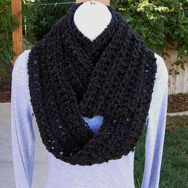 INFINITY SCARF Loop Cowl, Solid Black Extra Soft Acrylic Long Crochet Knit Warm Lightweight Winter Circle Eternity, Neck Warmer..Ready to Ship in 3 Days