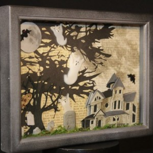 Spooky House Under the Oak Tree Shadow Box