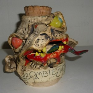 Handmade Zombie Catz Cat Monster Spice Jar Artist Judhe Jensen of Topeka Kansas