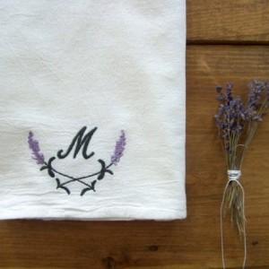 Lavender monogram Tea Towel - set of 2