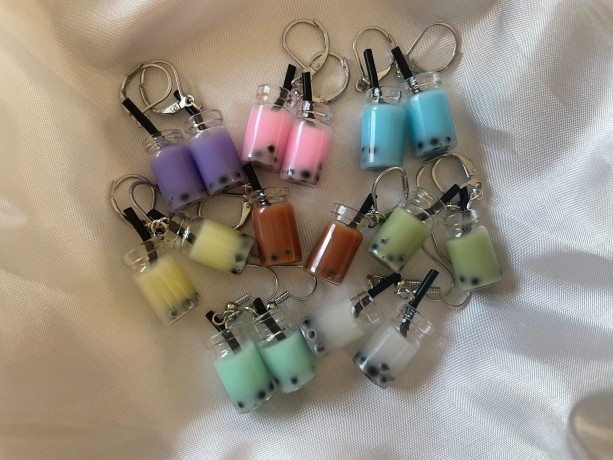 Milk Boba Tea Charm Earrings