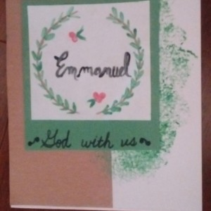 Set of 5 Hand made, Hand-painted Christmas Cards set with Holiday Title