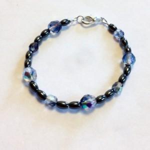 Hemalyke and Czech Fire Polished Beads Bracelet, Gray Handmade Beaded Bracelet, Modern Bracelet, Bridesmaid's Gift, Gift for Her