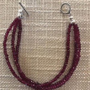 Garnet Necklace,3 Layered Beaded Bracelet Jewelry Set