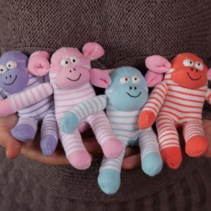 Sock Monkey Toy - Stuffed Animal Doll, Small Personalized Gift for Babies, Kids or Women, Soft and Handmade