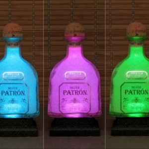 Patron Silver Tequila Remote Controlled 16 Color Changing LED Bottle Lamp  Bar Light Bodacious Bottles Liquor Bottle Lamp