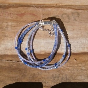Lavender and cobalt blue 6 strand bracelet