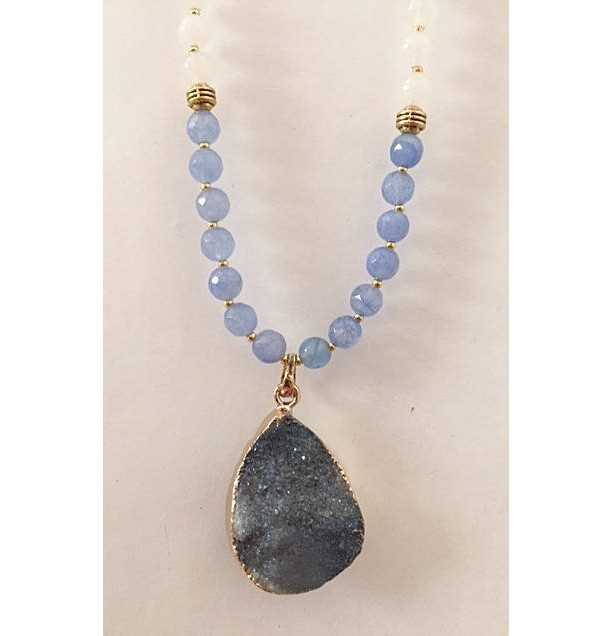 Delightful Blue Aquamarine Beaded Necklace