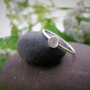 Minimal Moonstone Stacking Ring, Sterling Silver Ring, Non-Traditional Engagment Ring, Minimal Ring, Hammered and Forged Ring