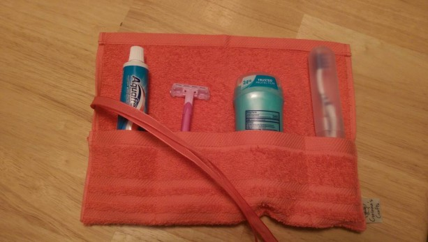 Travel Toiletry Roll Coral , Travel Toothbrush Roll,  Gym Bag Roll,  Toothbrush Holder,  Camping,  Overnight,  Make Up Brush Roll