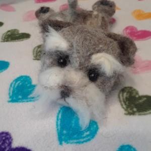 Needle Felted Schnauzer Puppy Dog 1