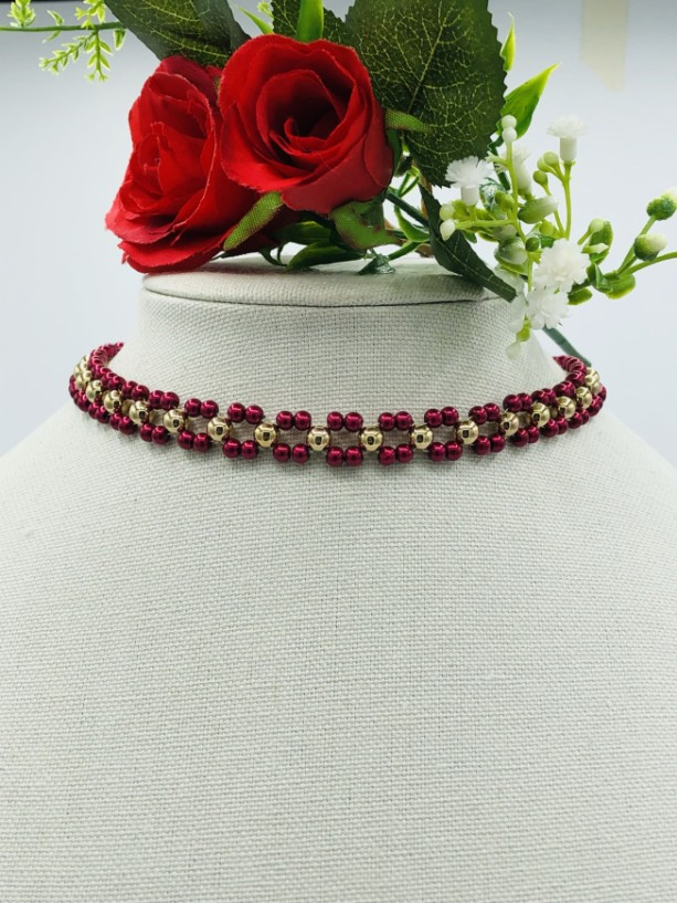 """15+"""" Red and Gold Choker Necklace"""