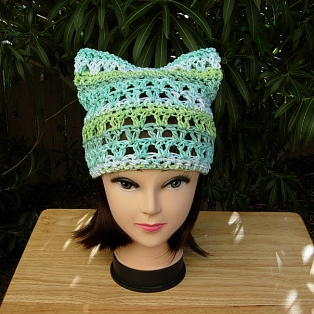 Earth Day, Women's March for Science Pussy Cat Hat, Sea Green, Light Blue & White PussyHat Summer 100% Cotton Lightweight Crochet Knit, Ready to Ship in 2 Days