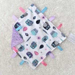 Ultra Soft Owl Minky Fleece Lovey, Free Personalization Included, Unique Baby/toddler Girl Gift, AKA lovie lovy security blanket woobie