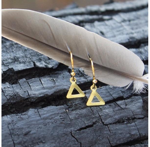 Tiny Cutout Triangle Earrings, Cut out Triangle earrings,Triangle Earrings, Triangle Cutout Earrings