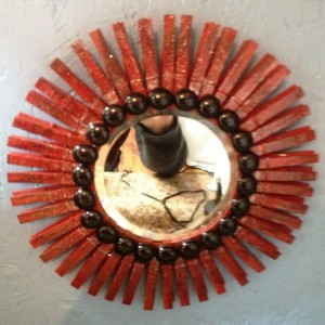 Red Glitter Wooden Sunburst Mirror