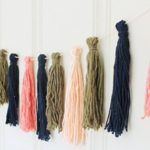 Yarn Tassel Garland No. 5 in Peach, Navy Blue, and Olive Green - Tassel Decor - Wall Hanging - Photo Prop - Nursery Decor - Ready to Ship