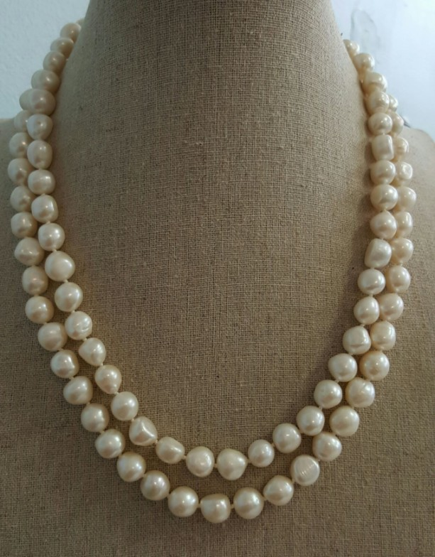 38 inches white Fresh water Pearl Knotted