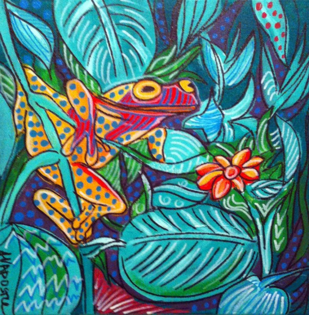 Mexican Folk Art - FROG - PRINT Signed By Artist A.V.Apostle