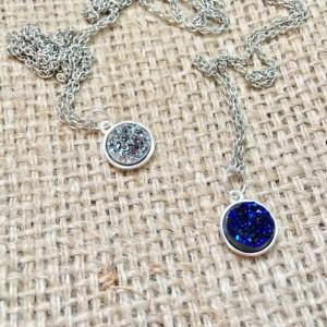 Faux Druzy Necklace, Druzy Charm Necklace, Fake Druzy Necklace, Round Druzy Necklace, Silver Druzy Pendant, Gemstone Necklace, 12 mm Druzy