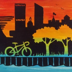 """Milwaukee Skyline 11"" original painting"