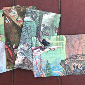 Set of 6 Snapping Turtle Themed Book Pages Recylced Paper Hand Sewn Envelopes