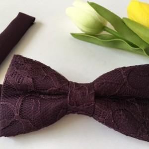 Plum Men's Bow Tie - Plum Lace Bow Tie - Plum Kid's Bow Tie- Plum Baby Bow Tie